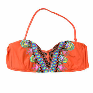 Trina Turk Orange Halter Bathing Suit Bikini Top